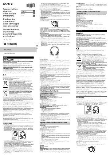 Sony MDR-ZX750BN - MDR-ZX750BN Guida di riferimento Lituano