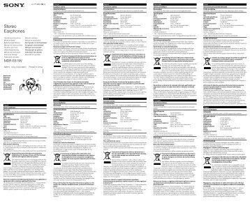 Sony MDR-E819V - MDR-E819V Istruzioni per l'uso Inglese