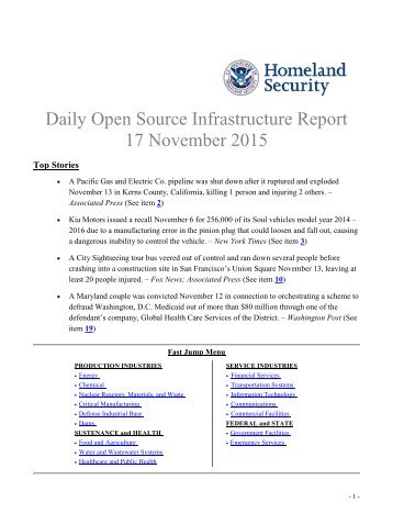 Daily Open Source Infrastructure Report 17 November 2015