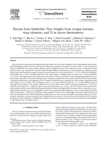 Zircons from kimberlite: New insights from oxygen isotopes, trace ...