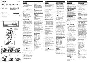 Sony ICF-SW11 - ICF-SW11 Istruzioni per l'uso Ceco
