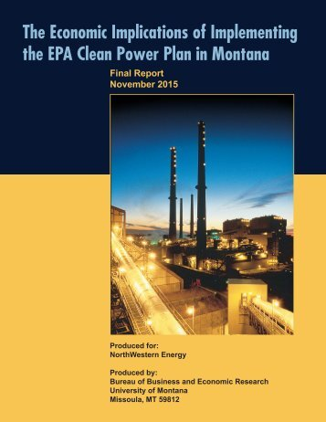 The Economic Implications of Implementing the EPA Clean Power Plan in Montana