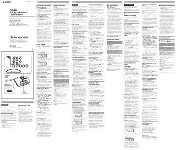 Sony ICF-C233 - ICF-C233 Istruzioni per l'uso Svedese