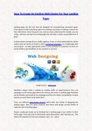How To Create an Exciting Web Design for Your Landing Pages