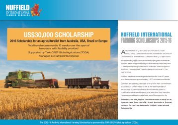 FARMING SCHOLARSHIPS 2015-16