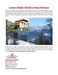Luxury Budget Manali Cottage Packages
