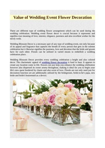 Value of Wedding Event Flower Decoration