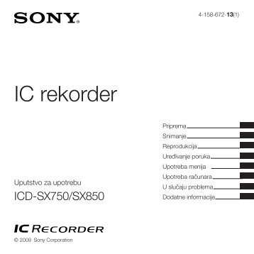 Sony ICD-SX850 - ICD-SX850 Istruzioni per l'uso Serbo