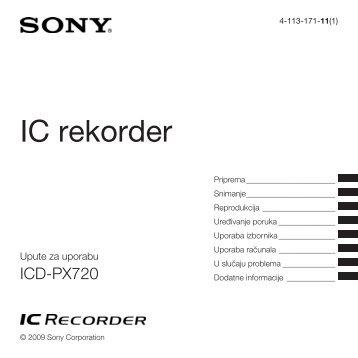 Sony ICD-PX720 - ICD-PX720 Istruzioni per l'uso Croato