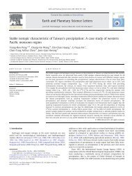 Stable isotopic characteristic of Taiwan's precipitation: A case study ...