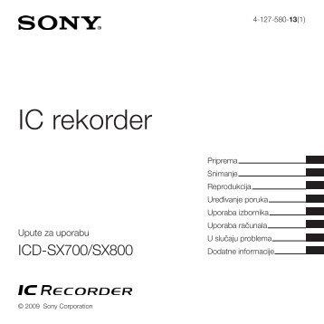Sony ICD-SX800 - ICD-SX800 Istruzioni per l'uso Croato