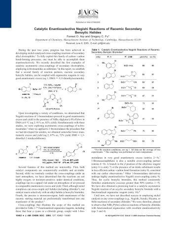 Catalytic Enantioselective Negishi Reactions of Racemic ... - MIT