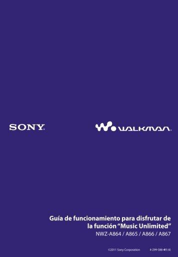 Sony NWZ-A866 - NWZ-A866 Istruzioni per l'uso Spagnolo