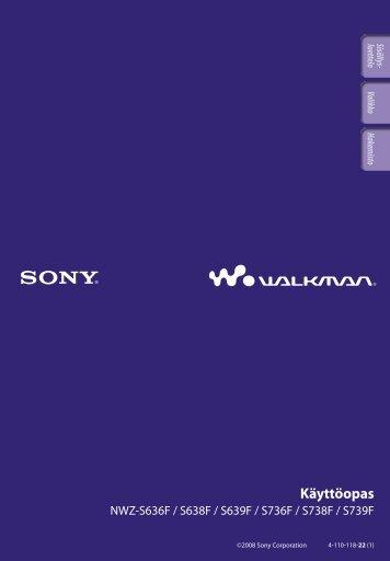 Sony NWZ-S739F - NWZ-S739F Istruzioni per l'uso Finlandese