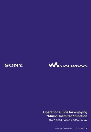 Sony NWZ-A866 - NWZ-A866 Istruzioni per l'uso Inglese