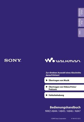 Sony NWZ-A846 - NWZ-A846 Istruzioni per l'uso Tedesco