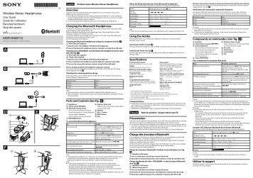 Sony NWZ-S773BT - NWZ-S773BT Istruzioni per l'uso Francese