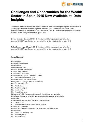 Challenges and Opportunities for the Wealth Sector in Spain 2015 Now Available at iData Insights
