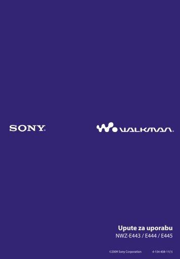 Sony NWZ-E444 - NWZ-E444 Istruzioni per l'uso Croato
