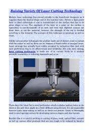 Raising Variety Of Laser Cutting Technology