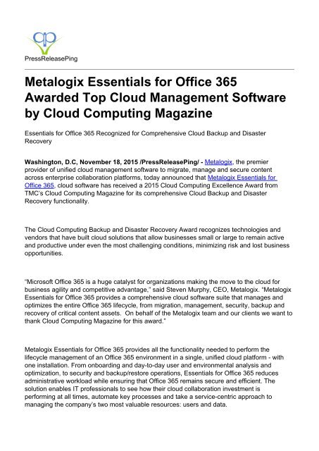 Metalogix Essentials for Office 365 Awarded Top Cloud