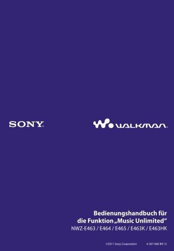 Sony NWZ-E463K - NWZ-E463K Istruzioni per l'uso Tedesco