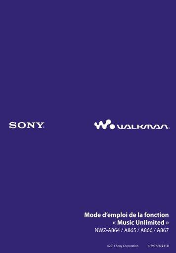 Sony NWZ-A864 - NWZ-A864 Istruzioni per l'uso Francese