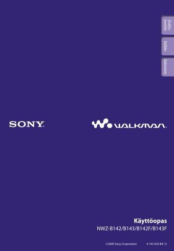 Sony NWZ-B142 - NWZ-B142 Istruzioni per l'uso Finlandese