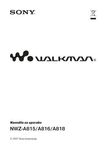 Sony NWZ-A816 - NWZ-A816 Istruzioni per l'uso Sloveno