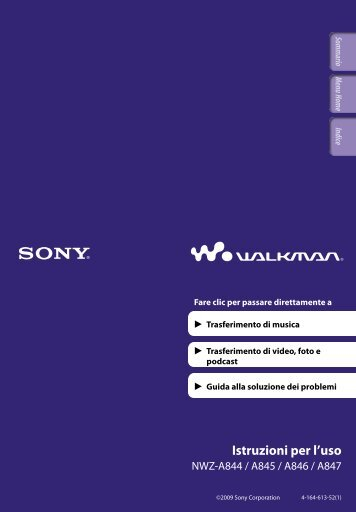 Sony NWZ-A844 - NWZ-A844 Istruzioni per l'uso Italiano