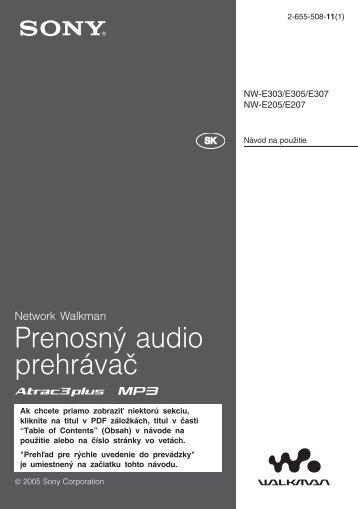 Sony NW-E305 - NW-E305 Istruzioni per l'uso Slovacco
