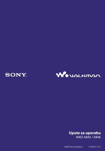 Sony NWZ-A845 - NWZ-A845 Istruzioni per l'uso Croato
