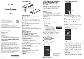 Sony NW-ZX2 - NW-ZX2 Guida di configurazione rapid Finlandese