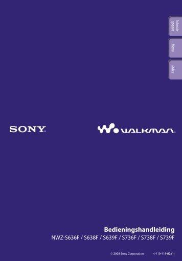 Sony NWZ-S639F - NWZ-S639F Istruzioni per l'uso Olandese
