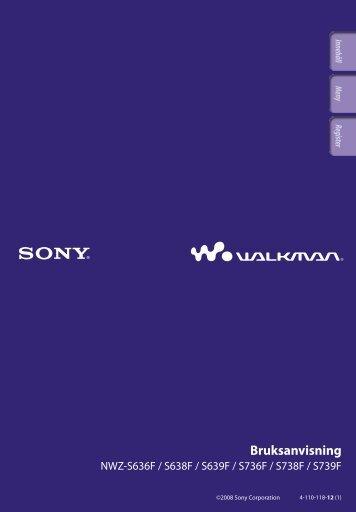 Sony NWZ-S639F - NWZ-S639F Istruzioni per l'uso Svedese