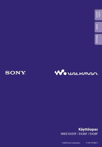 Sony NWZ-E438F - NWZ-E438F Istruzioni per l'uso Finlandese