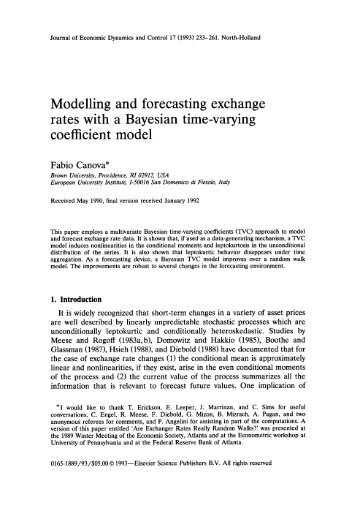 Modelling and forecasting exchange rates with a Bayesian time - CREI