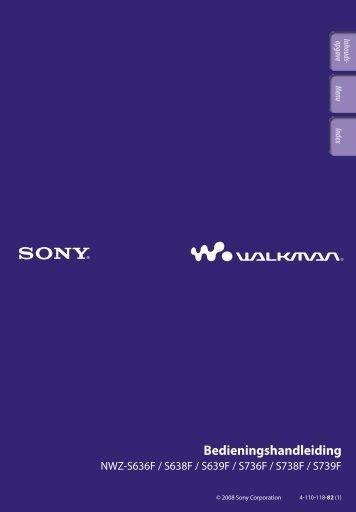 Sony NWZ-S636F - NWZ-S636F Istruzioni per l'uso Olandese