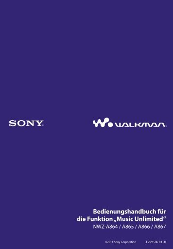 Sony NWZ-A865 - NWZ-A865 Istruzioni per l'uso Tedesco