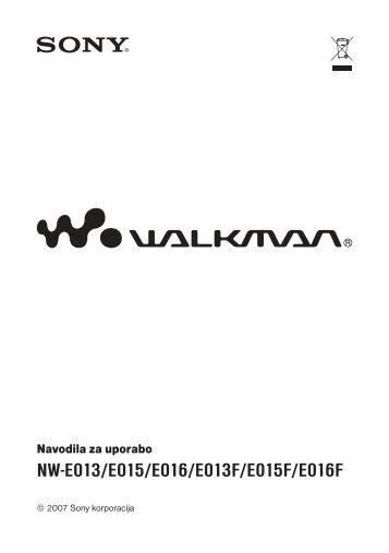 Sony NW-E015F - NW-E015F Istruzioni per l'uso Sloveno