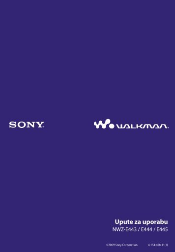 Sony NWZ-E445 - NWZ-E445 Istruzioni per l'uso Croato