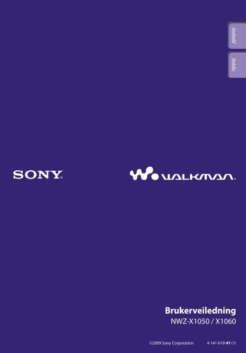 Sony NWZ-X1060 - NWZ-X1060 Istruzioni per l'uso Norvegese