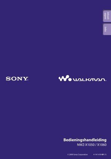 Sony NWZ-X1060 - NWZ-X1060 Istruzioni per l'uso Olandese