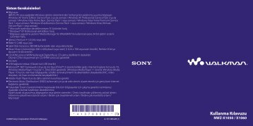 Sony NWZ-X1060 - NWZ-X1060 Istruzioni per l'uso Turco