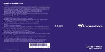Sony NWZ-X1060 - NWZ-X1060 Istruzioni per l'uso Francese