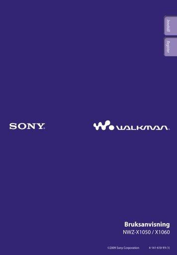 Sony NWZ-X1060 - NWZ-X1060 Istruzioni per l'uso Svedese
