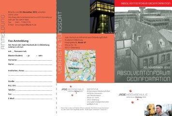ABSOLVENTENFORUM GEOINFORMATION - IAPG - Jade Hochschule