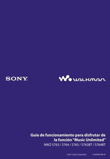 Sony NWZ-S764 - NWZ-S764 Istruzioni per l'uso Spagnolo