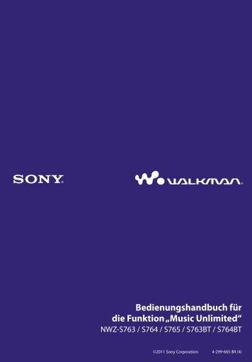 Sony NWZ-S764 - NWZ-S764 Istruzioni per l'uso Tedesco