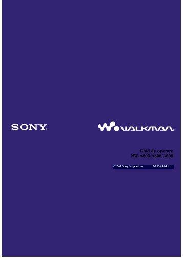Sony NW-A805 - NW-A805 Istruzioni per l'uso Rumeno